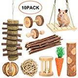 AuniFo Hamster Chew Toys, Gerbils Rat Guinea Pig Chinchilla Chew Toys Accessories, Natural Wooden Dumbbells Exercise