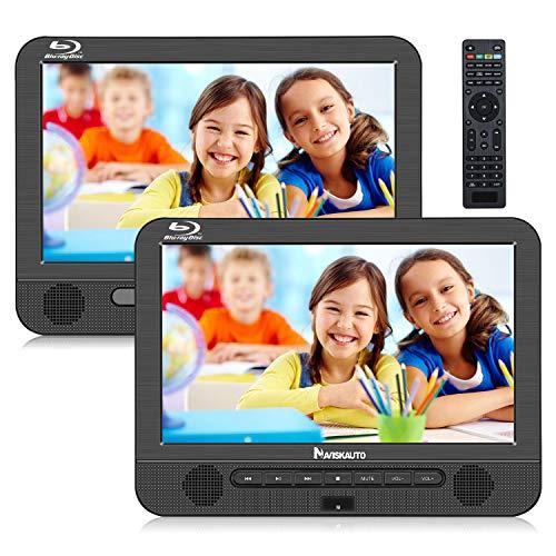 Naviskauto Lecteur DVD Blu Ray Portable Voiture Double Ecran d'appuie-tête pour Enfant 10,1 Pouce Supporte Disque blu-Ray Full HD 1080P,Sortie HDMI,USB SD (1 Lecteur DVD et 1 Moniteur)