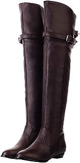 OSYARD Leren laarzen voor dames, platte ritssluiting, lange schacht, voor bikers en boots