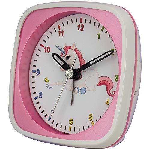 Kinderquarwekker – kleurrijk eenhoorn-motief – slepende seconde maakt de kleinsten een ongestoorde slaap mogelijk – incl. licht en wekherhalen – afmetingen: 95 x 95 x 45 mm – C345737
