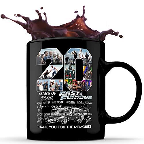 N\A 20 años de Fast Furious Gracias por los Recuerdos Taza de café de cerámica de 11 oz, Taza de té, Tazas de socola, jarras de Cerveza, Bebidas frías y Calientes, Idea