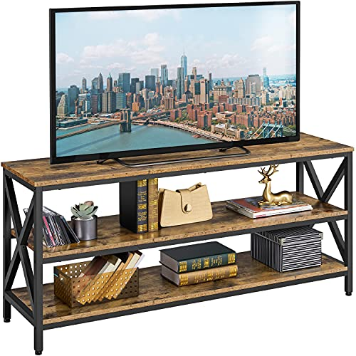 Yaheetech Industrial TV Stand for TV up to 65 inch, 55' TV Cabinet with 3 Tier Storage Shelves for Living Room, Entertainment Center TV Console Table with Metal Frame, Rustic Brown