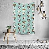 AEMAPE Tapiz de Arte de Pared Bulldog inglés Cabeza de Perro Divertida para Dormitorio Tapices de Dormitorio Sala de Estar Decoración de Pared Hippie ~ 7W