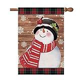 Hexagram Snowman Christmas Flags 28 x 40 Double Sided,Seasonal Snowman House Flag,Winter Primitive Buffalo Plaid Snowman with Cardinals Holiday Burlap Outdoor Christmas Decoration