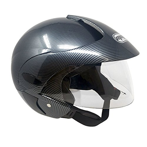 MMG 203 Motorcycle Scooter Open Face Helmet DOT Street Legal, Flip Up Shield, Gray Carbon, Medium