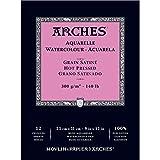 Arches - Papel de acuarela, bloc 12 hojas engomado 1 lado, grano satinado, 300 g/m², 23 x 31 cm