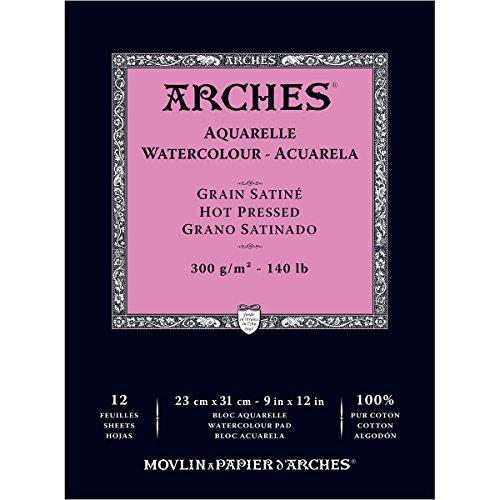 Arches 1795097 Aquarellpapier im Block (23 x 31 cm Kopfgeleimt 300g/m² Satiniert) 12 Blatt naturweiß