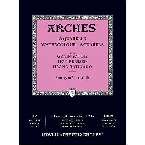 Arches Watercolor Paper Pad, 140 pound, Hot Press, 9'x12'