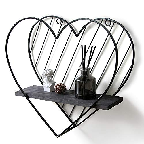 Afuly Schwarzes Wandregal aus Metall, schwebende Regale, Herz-Design, industriell, modern, Landhaus-Stil, ausgefallene einzigartige Dekoration für Badezimmer und Schlafzimmer