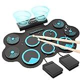 Electronic Drum Electronic Drum Set, Adult Beginner Portable MIDI Electronic Roll Up Drum Kit ,