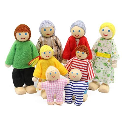 Wagoog Bambole familiari in Legno Set di 8 Figure di Piccole Persone Pupazzi Flessibili per Accessori per mobili per la casa delle Bambole