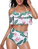 Yuson Girl Mujer Conjunto De Frill Bikini Tiras Talle Alto Tallas Grandes Sexy Traje De Baño Cuello...