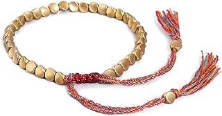 LINONI Braccialetto tibetano tibetano unisex fatto a mano, con perline di rame irregolari intrecciate e perline di rame po...