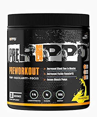 RIPPD PreRippd 30 Servings (330g) Pre-Workouts/Energy/Pump Supplement Powder Pre Workout Drink by RIPPD