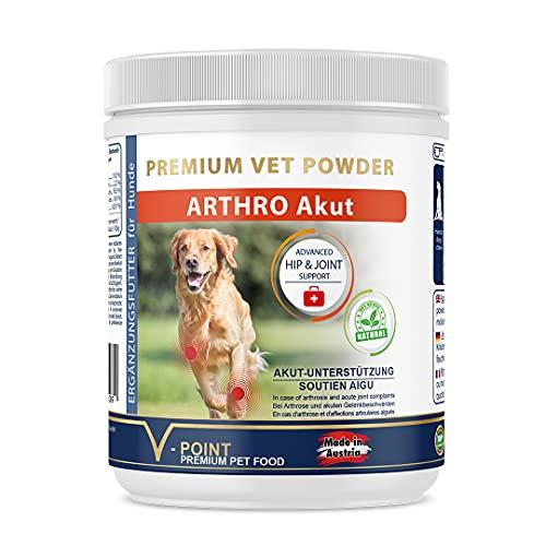 V-POINT Arthro - Polvo de hierbas para perros para dolores articulares, artrosis agudas dolorosas, hierbas prémium con garra de diablo jengibre y escaramujo (250 g)