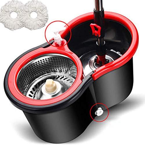 N/ A Turbo Juego De Fregona Mop and Bucket Floor Cleaning System Mop De Microfibras Asegura Una Gran Limpieza Y Absorción En Todo Tipo...
