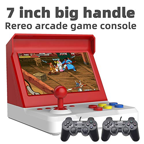 7.0 inch Quad-core Retro Arcade Game Console 9000 Free Games mame/neogeo/cp1/cp2/bin/gbc/gb/sfc/fc/smd Game saveable Video Music Lithium Battery (White-Red)