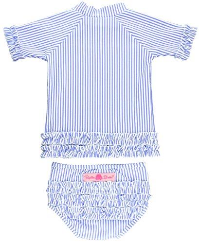 RuffleButts Girls 2-Piece Swimsuit Set - Blue Seersucker Rash Guard Bikini with UPF 50+ Sun Protection - 3T
