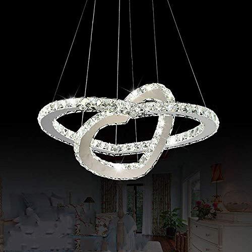 WEM Lámpara Colgante de Cristal Led, Lámpara de Araña de Cristal K9 de Comedor de 36 W, Lámpara de Cristal de Sala de Estar con Diseño de Corazón de 2 Anillos, Elegante Lámpara Colgante de Acero Inox