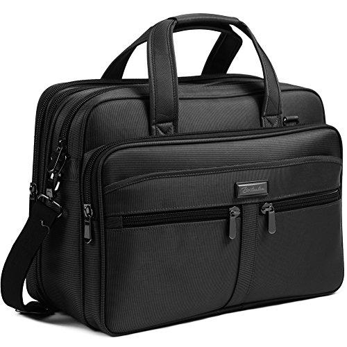 BOSTANTEN 17 inch Laptop Bag Case Expandable Briefcases for men Computer Water Resisatant Business Messenger Shoulder Bag Black