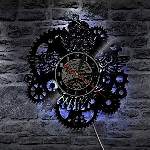Reloj de pared de vinilo diseño steampunk clockwood mesa lámpara de mesa lámparas de mesa de noche lámpara de mesa de batería