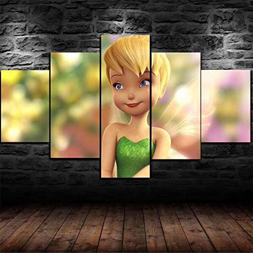 YQRX Art Bilder Wandbild Vlies Leinwand Bild Format Wandbilder Wohnzimmer Wohnung Deko Kunstdrucke 5 Teilig Fertig zum Aufhängen Fee Tinkerbell Weihnachten Rahmen/100X55CM
