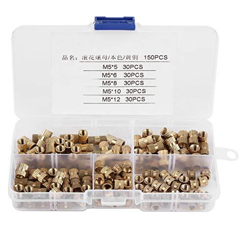 Tuerca moleteada, 150 piezas M5 Cilindro de latón Tuercas moleteadas Tuercas de inserción roscadas Kit surtido de tuercas integradas