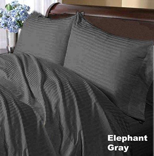 Oferta venta 800TC 7PCDUVET + juego de sábanas UK King de elefante gris diseño de rayas 100% algodón Pima