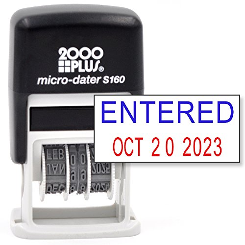 Cosco 2000 Plus Self-Inking Rubber Date Office Stamp with Entered Phrase Blue Ink & Date RED Ink (Micro-Dater 160), 12-Year Band