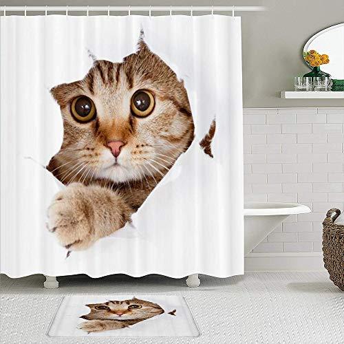 AYISTELU Juegos de Cortinas de baño con alfombras Antideslizantes, Divertido Gato rasgar un Agujero en el paño Que esconde el Gato Animal de compañía,con 12 Ganchos