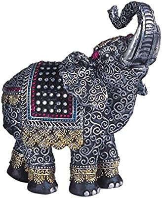 Black Thai Elephant with Trunk Raised Collectible Figurine Statue