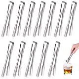 TUPARKA 12 Pack Ice Sugar Tongs Stainless Steel Small Serving Tongs Serving Silver Tongs for Wedding Birthday Party Coffee Kitchen Bar