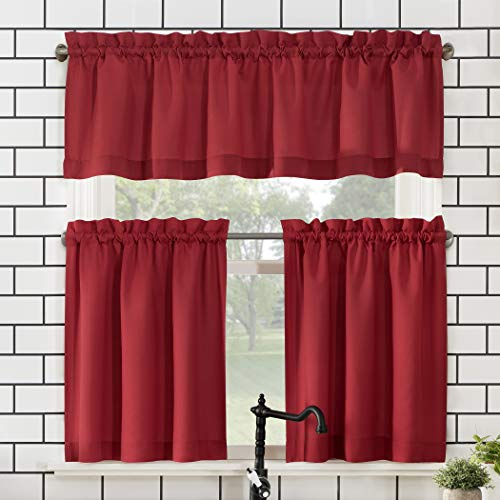 """No. 918 Martine Microfiber Semi-Sheer Rod Pocket Kitchen Curtain Valance and Tiers Set, 54"""" x 24"""" 3-Piece, Red"""