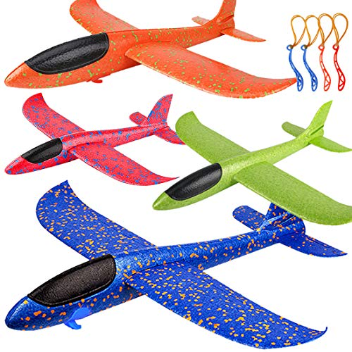 """4 Pack Airplane Toys, Upgrade 17.5"""" Large Throwing Foam Plane, 2 Flight Mode Glider Plane, Flying Toy for Kids, Gifts for 3 4 5 6 7 Year Old Boy, Outdoor Sport Toys Birthday Party Favors Foam Airplane"""