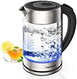 Glass Kettle Electric, Homgeek Water Tea Kettle 2200W with Illuminated LED, 1.7L, Stainless Steel Inner Lid & Bottom, Auto-Off & Boil-Dry Protection, Wide Opening for Easy Clean, BPA-Free