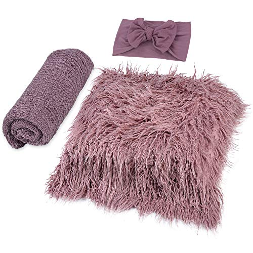 ZOYLINK Newborn Wrap, 3 Stücke Baby Decke Haarband DIY Newborn Shooting Requisiten Accessoires Foto Requisiten Baby Teppich Knit Wrap für Baby Fotografie Taufe Fotoshootings (Purple, Medium)