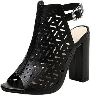 〓COOlCCI〓Women's Perforated Booties Open Toe Stacked Heel Side Zipper Slingback Cutout Summer Sandals