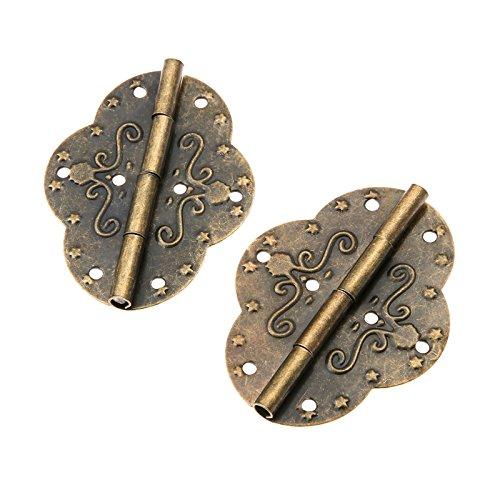 Dophee 4Pcs 2.72'x2.09' Retro Style Antique Bronze Iron Decorative Hinges for Wooden Jewelry Box Case