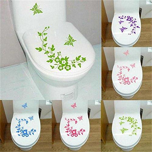 Mariposa flor vid baño vinilo etiqueta de la pared decoración del hogar etiqueta de la pared nevera lavadora etiqueta