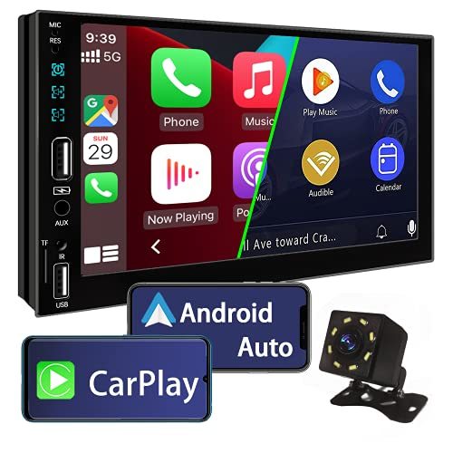 Double Din Car Stereo Compatible with Apple Carplay and Android Auto,7 Inch Touch Screen Car Stereo...