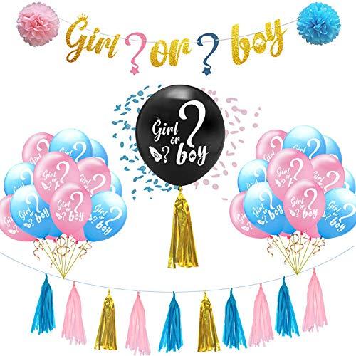 Haokaini Baby Douche Gender Openbaring Feestbenodigdheden, Zwangerschap Aankondiging Decor Kits Jongen of Meisje Banner Zwarte Ballon Papier Kassen Roze Blauwe Ballonnen