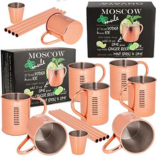 ONVAYA® Moscow Mule - Juego de 2 vasos (4 vasos, medida de barra y pajita | Vaso de cobre para cócteles | 4 tazas de cobre con 480 ml de capacidad | Juego completo de Gin Mule