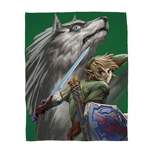 Familando große kuschelige Flauschdecke Fleecedecke Zelda · 160 x 200 cm · Decke Wolf-Link · XXL Tagesdecke Kuscheldecke · The Legend of Zelda