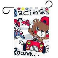 ホームガーデンフラッグ両面春夏庭屋外装飾 12x18inch,テディベア漫画運転レースカー