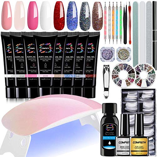 Nail Extension Gel Kit, Super Deluxe Poly Nail Gel Kit with LED UV Nail Lamp, 8 Colors All-in-One...