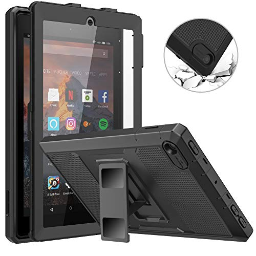 MoKo Case Fits All-New Amazon Kindle Fire 7 Tablet (9th Generation, 2019 Release), Dual-layer Shell Full Body Rugged TPU + PC Stand Back Cover Built-in Screen Protector - Black