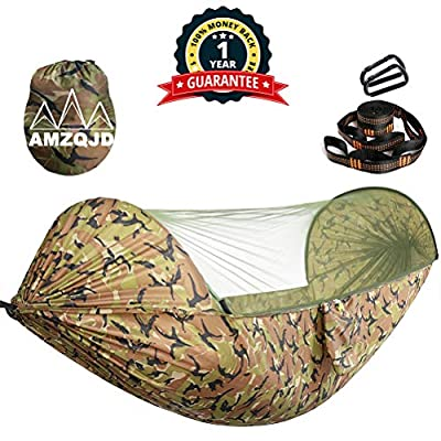 AMZQJD Camping Hammock with Mosquito Net, Portable Nylon Double Hammock with Tree Straps, Carabiners and Storage Bag for Indoor, Outdoor, Hiking, Travel, Party, Beach(Hold Up to 660 lbs) (Camouflage)