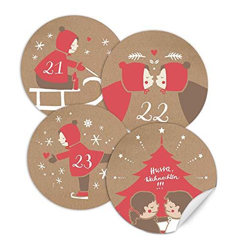 Adventskalendercijfers mix voor kinderen en volwassenen - 24 ronde getallen etiketten mat voor adventskalender knutselen, beige rood wit, zelfklevend, 40 mm, schattig retro vintage design, 4 motieven