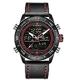 NAVIFORCE Reloj de pulsera deportivo digital para hombre, de piel, cuarzo, con caja de regalo