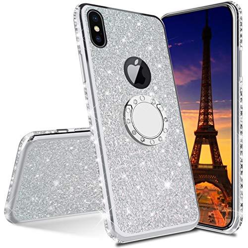 COTDINFOR iPhone XR Coque Scintillant Diamant Brillant Téléphone Cas pour Filles Femmes De Bling Protecteur Bumper avec Kickstand Plating TPU Coque pour iPhone XR - Silver Glitter